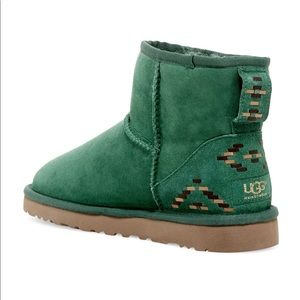 UGG Shoes - Classic Mini Rustic Weave Green Uggs - Size 8